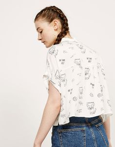 BSK print pocket shirt - Shirts - Bershka Philippines