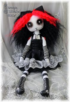15 inch Goth Punk cloth cat art doll with button eyes - Kitty Ketamine