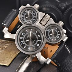 Cheap homme, Buy Quality homme montre directly from China homme luxury Suppliers: Oulm Multiple Time Zone Male Quartz Watch Casual Leather Strap Wristwatch Luxury Brand Men's Military Watches montre homme Big Watches, Sport Watches, Cool Watches, Male Watches, Wrist Watches, Vintage Watches For Men, Luxury Watches For Men, Audemars Piguet, Swiss Army Watches