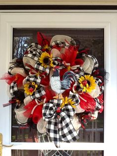 Rooster wreath!! Perfect for any country kitchen. The person selling them is charging $135!! Looks too easy to make.