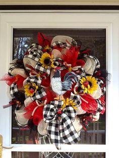LOVE, LOVE, LOVE!!! Deco Mesh Rooster Wreath. $135.00, via Etsy.