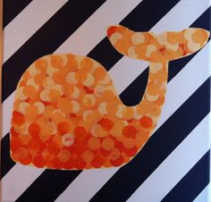 Orange Ombre Whale Painting with black and white striped background