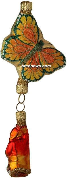 Through The Spring Sky (Monarch) Patricia Breen Designs (Butterflies, Orange, Yellow, Santa)