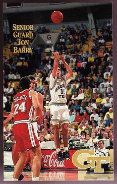 1991-92 GEORGIA TECH YELLOW JACKETS MENS BASKETBALL POCKET SCHEDULE JON BARRY CV #Pocket #Schedule