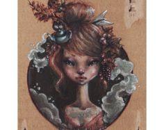 """""""Pensamientos otoñales"""" Ilustración. Óleo sobre cartón. Realizado por ilustradora  Aintzane Cruceta."""