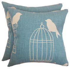 Aviary Pillow in Aquadisiac (Set of 2)
