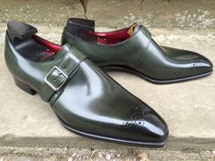 """bespoke-england: """"Regency on the Deco Last in Racing Green Calf and Red Lining. """""""