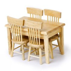 5pcs/set 1/12 Dollhouse Miniature Dining Table Chair Wooden Furniture Set (Wood Color)