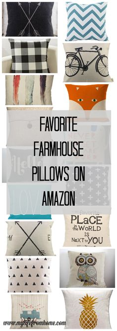 The best Farmhouse Pillows all under $15 and available from Amazon- farmhouse style- farmhouse decor- decorating with pillows- throw pillows- diy- home decor- house and home- design ideas