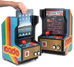 iCade-iPad Arcade Cabinet. This is hilarious! I thought this was an actual product, because it was even featured in EW. Turns out to be an April Fool's joke. But wouldn't it be great if you could actually buy this for your iPad?