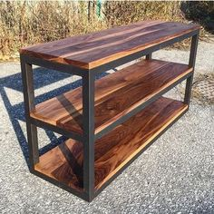 """This piece is a welded, powder coated frame featu… """"Custom built store fixture. This piece is a welded, powder coated frame featuring 3 walnut shelves perfect for displaying product. Welded Furniture, Steel Furniture, Handmade Furniture, Industrial Furniture, Custom Furniture, Furniture Design, Bedroom Furniture, Furniture Chairs, Repurposed Furniture"""