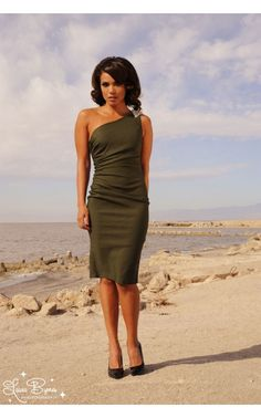 Final Sale - Vivien Dress in Olive Bengaline with Rhinestone Shoulder Detail - Sale Items - Clothing | Pinup Girl Clothing