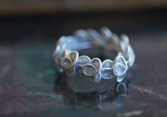 Metallic Silver Forget Me Not Ring in Sterling Silver, 1st Anniversary Paper Jewelry, Bridal Unique Flowers, Artisan on Etsy, $60.00