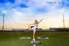 Cheerleader, Shelby, shows us her scale pose on the Lone Star high school football field.