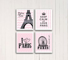 Digital Art Print Eiffel tower poster Keep calm Wall art Pink Chevron print French Paris La Grande Roue ferris wheel print Girls room decor    4