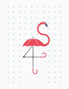 Image Based Design This is The Pink Umbrella by Davies Babies. IT combines a flamingo and an umbrella into one image. Pink Umbrella, Umbrella Art, Under My Umbrella, Flamingo Art, Pink Flamingos, Flamingo Gifts, Illustrations, Graphic Illustration, Childrens Room Decor