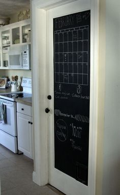 Chalk board pantry door-I saw this on the door of a bathroom in a local diner one time.  Totally loved the idea for my pantry door in the kitchen.  I really want to do this!