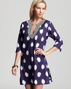 Echo Ikat Print Dot Beaded Tunic Swimsuit Coverup | Bloomingdale's