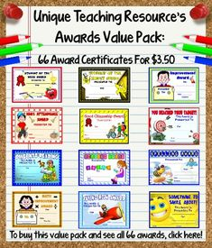This value pack of 66 awards includes: student of the month, student of the week, achievement, improvement, effort, attendance, citizenship, birthday, reading, writing, spelling, math, multiplication, science, science fair, science experiment, history, social studies, geography, research, art, music, P.E., and MANY MORE.  Available on Unique Teaching Resources:  http://www.uniqueteachingresources.com/Printable-Award-Certificates-Value-Pack-For-School-Teachers.html