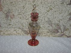 VINTAGE EGYPTIAN BLOWN GLASS PERFUME BOTTLE RED CLEAR & GOLD DETAIL  #Collectible