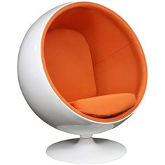 Modway Eero Aarnio Style Ball Chair in Orange (€585) ❤ liked on Polyvore featuring home, furniture, chairs, modway chair, modway, orange furniture, modway furniture and orange chair