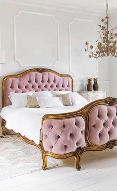 Pink vintage velvet tufted bed