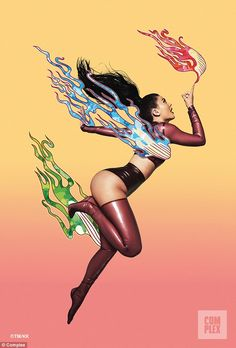 Playing with fire: Kylie channels her inner superhero in one shot