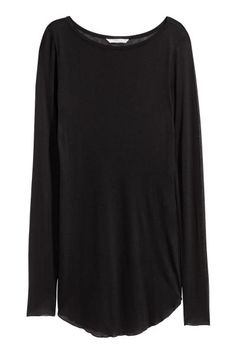Top in soft, airy jersey with extra-long sleeves and overlocked edges at the cuffs and hem.