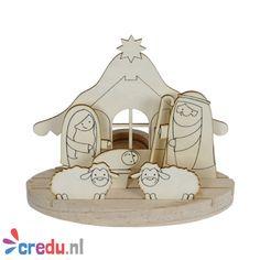 Credu.nl - Houten kerststal om zelf te versieren.