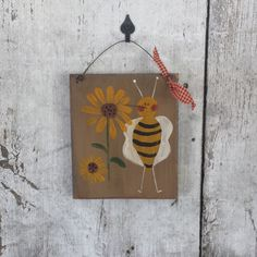 Primitive Country Bee Summer Is A BuzzBeeSummer DecorPrimitive BeeRustic BeePrimitive DecorCountry BeePainted BeeBee Sign