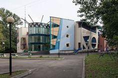The work of architects Andrey Chernikhov and Natalia Shcherbakova, this colorful health center was built in 2000 on Kashenkin Meadow Street