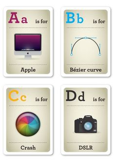 "Hipster design-nerd parents who want to impart their ""obscure"" knowledge to their children now have the perfect teaching device. These ABC flash cards by S Social Design, Web Design, Design Trends, Hipster Design, Moleskine, Branding, Baby Flash Cards, Designers Gráficos, Graphic Designers"