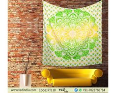 Beautiful Yellow and Green Ombre Mandala Wall Tapestry Hippie Bohemian Boho Wall Hanging Twin Cotton Bedspread Indian Dorm Decor With International Free Shipping at VedIndia.com