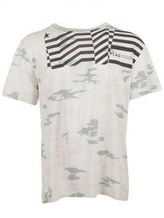 GOLDEN GOOSE Ivory Camouflage Logo T-Shirt. #goldengoose #cloth #topwear