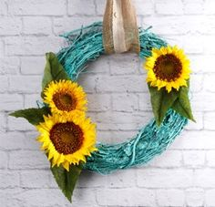 Turquoise Sunflower Wreath
