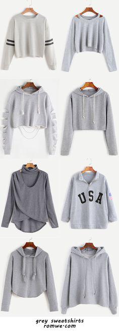 grey sweatshirts 2017 - romwe.com