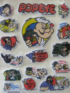 Vintage Felt Popeye Video Game Stickers by VintageByThePound, $13.50