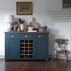 Westcote Blue Sideboard with Oak Wine Rack - The Cotswold Company, Buffet With Wine Rack, Sideboard With Wine Rack, Wine Buffet, Oak Wine Rack, Kitchen Sideboard, Painted Sideboard, Rustic Wine Racks, Wine Rack Cabinet, Large Sideboard