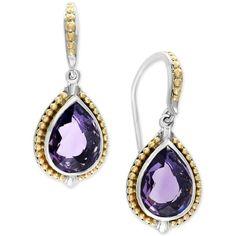 Effy Balissima Amethyst Teardrop Earrings (4-7/8 ct. t.w.) in Sterling... ($623) ❤ liked on Polyvore featuring jewelry, earrings, amethyst drop earrings, 18k earrings, 18k gold earrings, 18k yellow gold earrings and amethyst earrings
