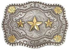 Cody James Men's Triple Star Belt Buckle, Silver