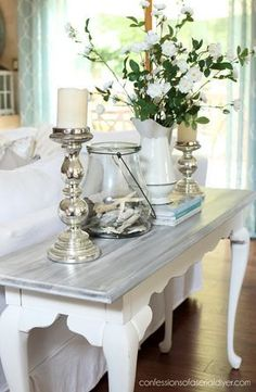 Check out this amazing diy furniture polish – what an inspired type - White Washed Sofa Table Sofa Table Decor, Sofa Tables, Decoration Table, Table Furniture, Furniture Stores, Entry Tables, Furniture Design, Kitchen Furniture, Sofa Table Styling