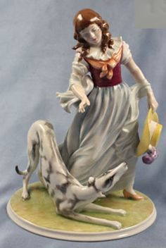 porzellanfigur-Frau-hund-Windhund-Greyhound-Rosenthal-figur-porzellan-figur