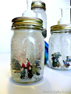 DIY Dollar Store Mason Jar Snow Globe Soap Dispensers