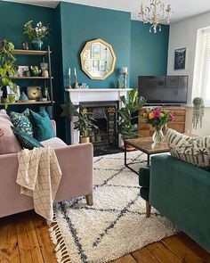 Home Interior Ideas Green wall, green and pink velvet sofa, industrial style furniture, fireplace and berber style rug in the living room Dark Green Living Room, Colourful Living Room, Living Room Sofa, Living Room Interior, Pink Living Rooms, Living Room Decor Green, Good Living Room Colors, Colorful Rooms, Victorian Living Room