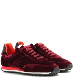 Rag & Bone - Dylan Runner velvet sneakers - Add a luxe spin to your urban edit with Rag & Bone's Dylan Runner sneakers. The retro silhouette is coated with lustrous bordeaux-hued velvet and is finished off with a contrasting leather trim and a cool multicoloured rubber sole. Style this pair with a pretty skirt for all-day cool. seen @ www.mytheresa.com