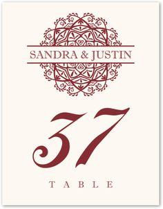 Mandala Monogram :: Weddings :: Table Numbers