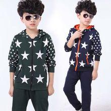 Children Geometric Cotton Clothes 2-13years Baby Boy Christmas Cotton Jacket Coat And Pants Boy Crochet 2Pcs Set Boys Sport Set(China (Mainland))