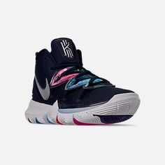 Three Quarter view of Men's Nike Kyrie 5 Basketball Shoes in Multi-Color/Metallic Silver Basketball Shoes Kyrie, Basketball Shorts Girls, Basketball Games, Basketball Girlfriend, Basketball Room, Basketball Court, Zapatillas Nike Jordan, Nike Kyrie, Kyrie 5