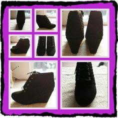 NWOB Woman's Black Boots Size 10 M NWOB Woman's Black Lace Up Boots With Wedge Heel And Quilted Pattern Around Ankle Size 10 Medium. Excellent Condition And Very Comfortable  TRADES   NO PayPal  NO LOWBALLING PRICE IS FIRM   Forever  Shoes Lace Up Boots