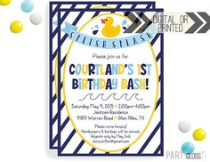 Rubber Duck Invitation Digital or Printed Navy by PartyGloss
